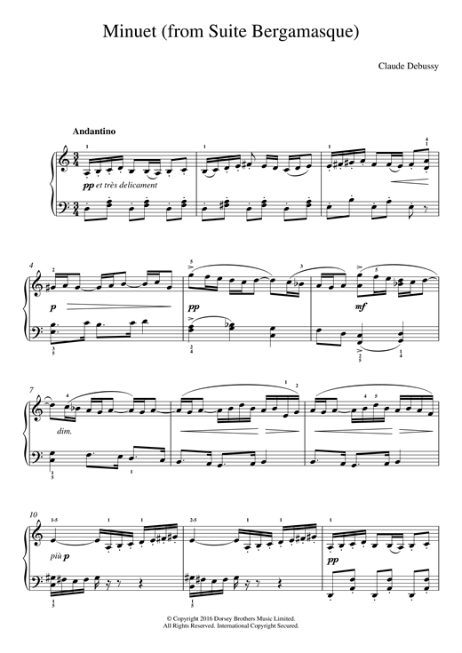 Partition piano Minuet (From Suite Bergamasque) de Claude Debussy - Piano Facile