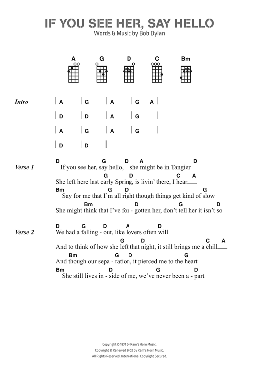 If You See Her, Say Hello sheet music by Bob Dylan (Ukulele Lyrics ...
