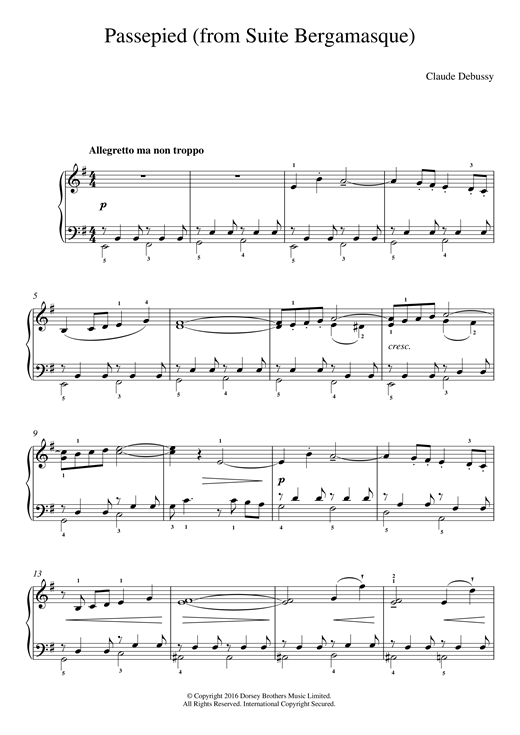 Passepied (From Suite Bergamasque) Sheet Music