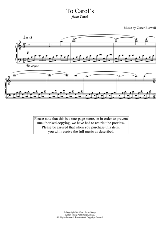 To Carol's (from 'Carol') Sheet Music