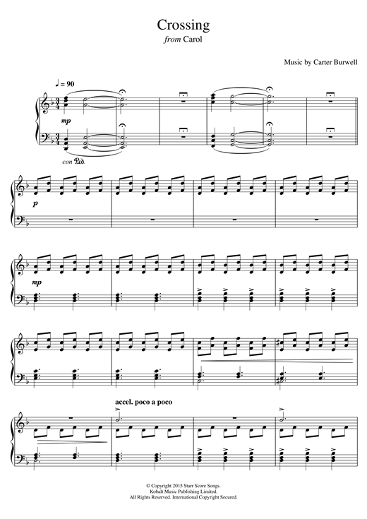 Crossing (from 'Carol') Sheet Music