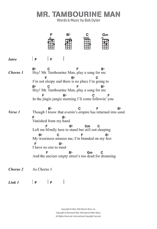Mr Tambourine Man Sheet Music By Bob Dylan Ukulele Lyrics Chords