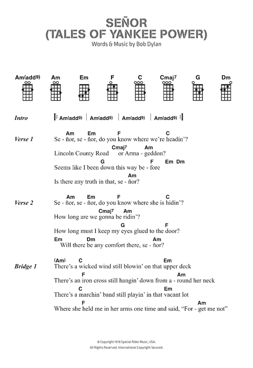 Señor (Tales Of Yankee Power) Sheet Music