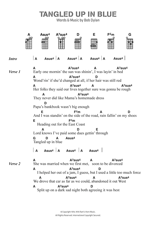 Tangled Up In Blue sheet music by Bob Dylan (Ukulele Lyrics & Chords ...