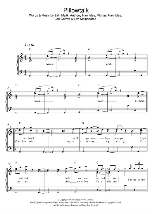 Pillowtalk Sheet Music