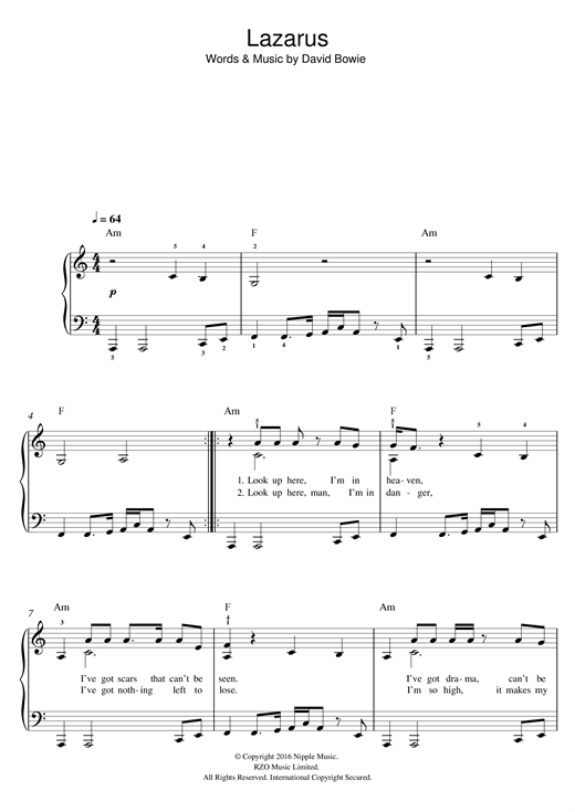 Lazarus Sheet Music