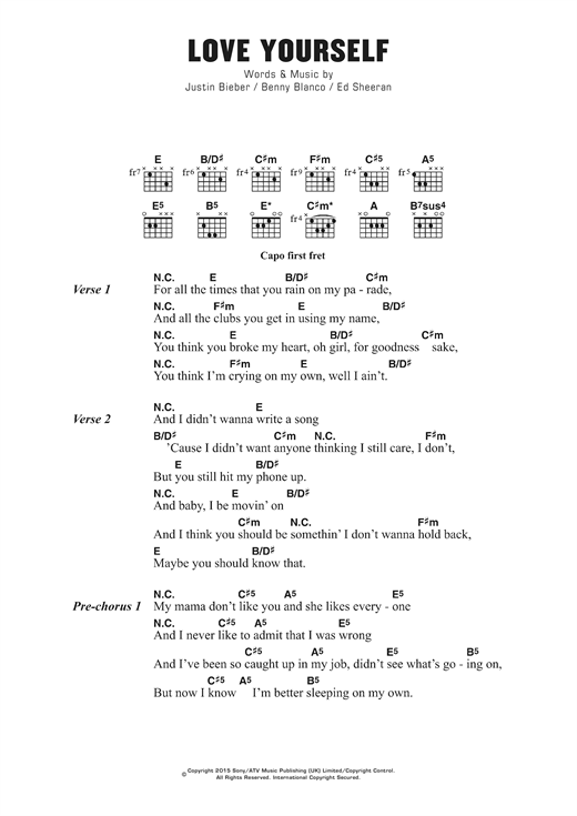 Love Yourself sheet music by Justin Bieber (Lyrics u0026 Chords u2013 123170)