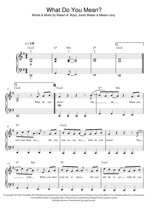 Partition piano What Do You Mean? de Justin Bieber - Piano Facile