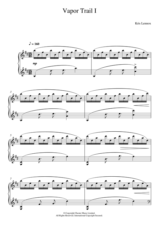 Vapor Trails I Sheet Music