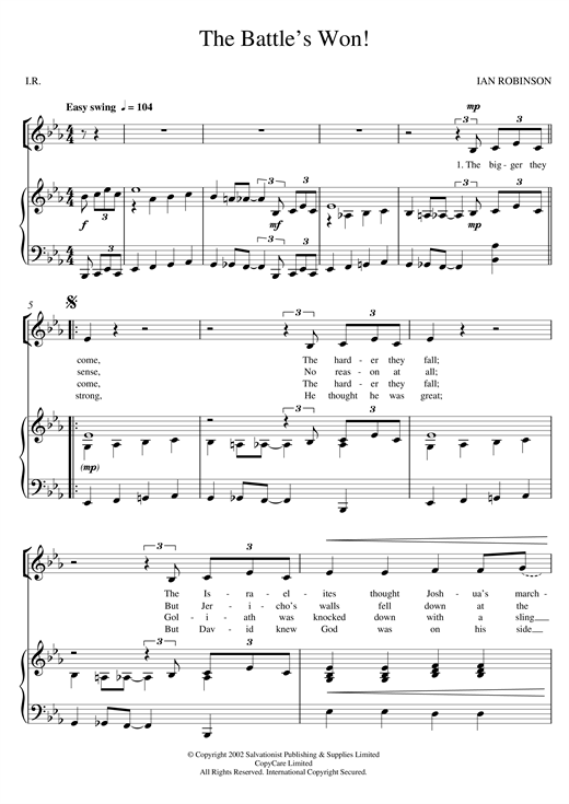 The Battle's Won! Sheet Music