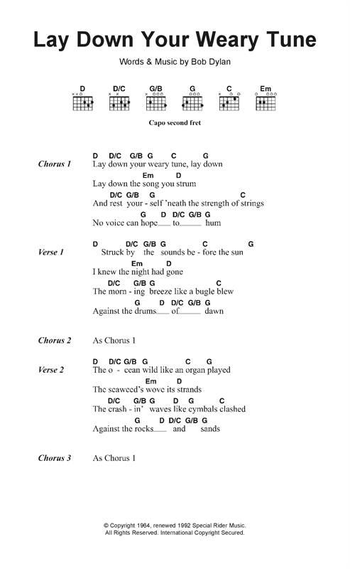 page one of Lay Down Your Weary TuneASALTTEXT