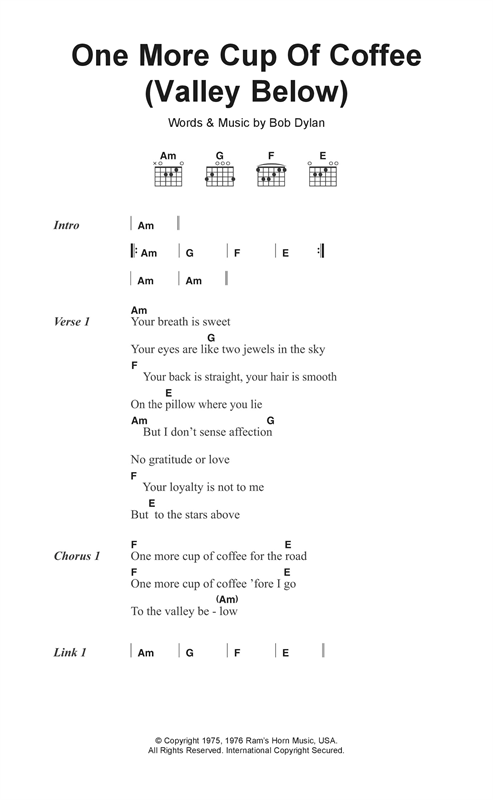 One More Cup Of Coffee (Valley Below) Sheet Music