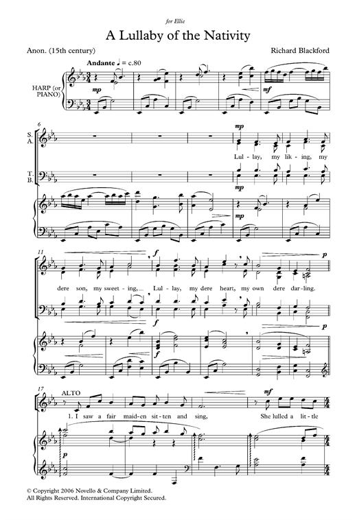 Lullaby Of The Nativity Sheet Music