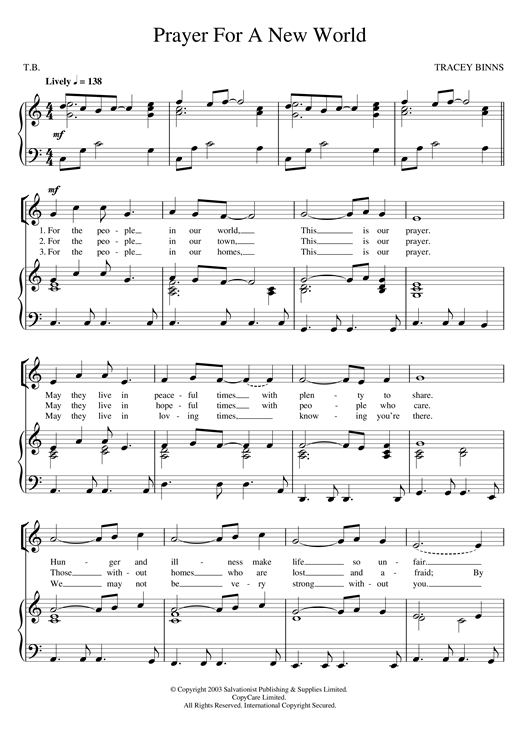 Prayer For A New World Sheet Music