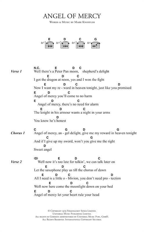 Angel Of Mercy sheet music by Dire Straits (Lyrics & Chords – 123315)