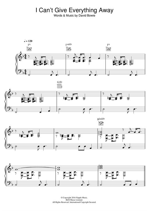 I Can't Give Everything Away Sheet Music