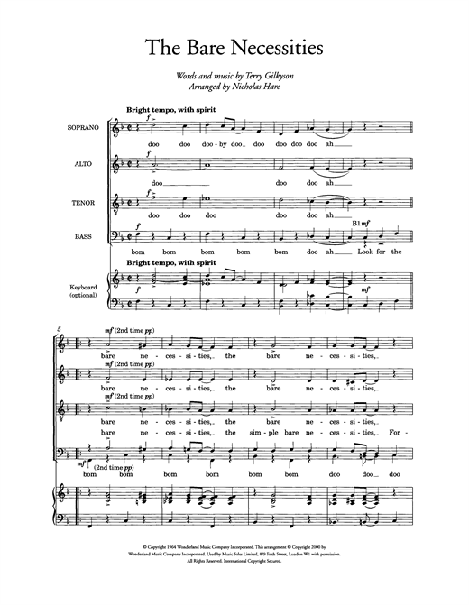 The Bare Necessities (from Disney's The Jungle Book) (arr. Nicholas Hare) Sheet Music