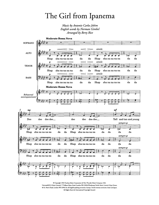The Girl From Ipanema (arr. Berty Rice) Sheet Music