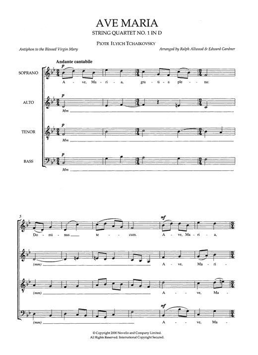 Ave Maria (String Quartet No.1 In D) (arr. Ralph Allwood & Edward Gardner) Sheet Music