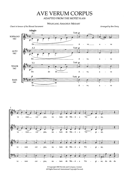 Ave Verum Corpus, K618 (arr. Ben Parry) Sheet Music