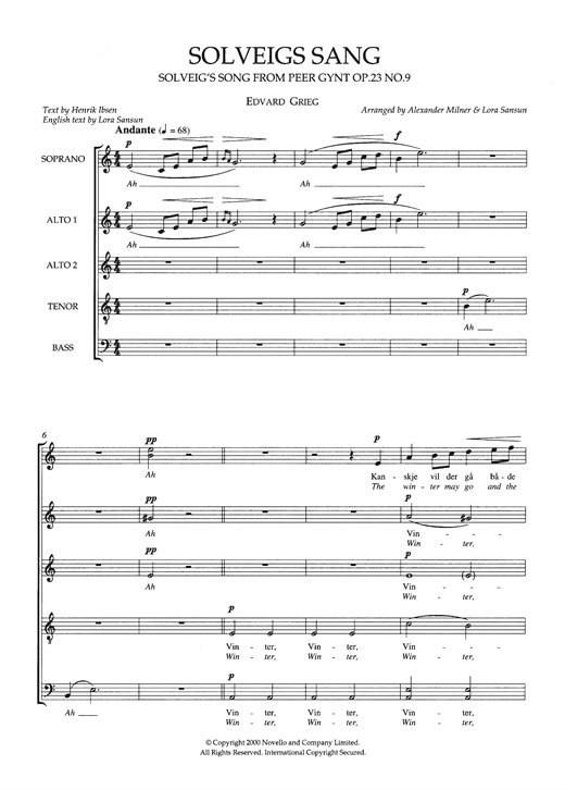 Solveig's Song (From 'Peer Gynt Suite No. 2') (arr. Alexander Milner & Lora Sansun) Sheet Music