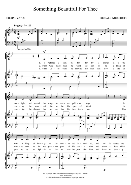 Something Beautiful For Thee Sheet Music