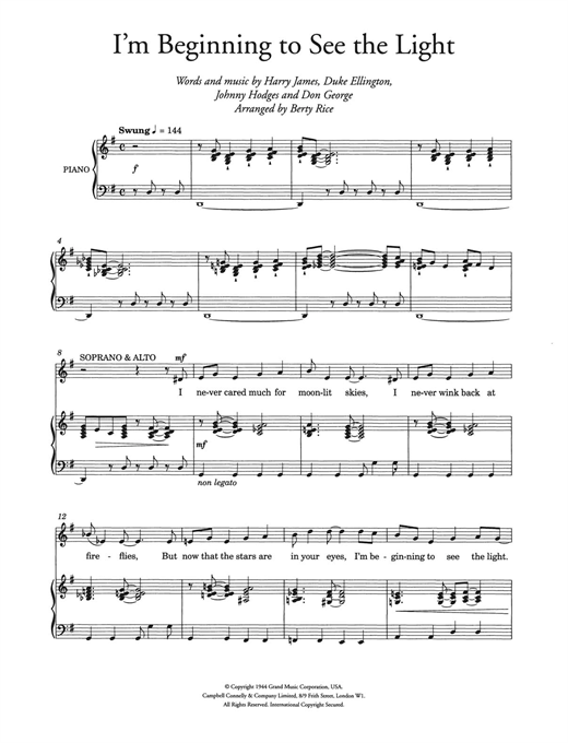I'm Beginning To See The Light (arr. Berty Rice) Sheet Music