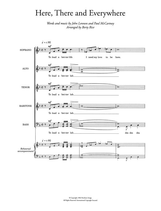 Here, There And Everywhere (arr. Berty Rice) Sheet Music