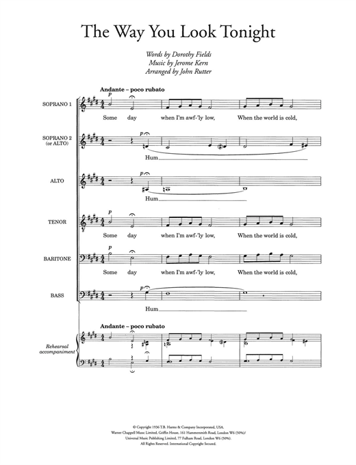 The Way You Look Tonight (arr. John Rutter) Sheet Music