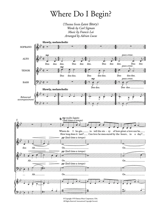 Where Do I Begin (theme from Love Story) (arr. Adrian Lucas) Sheet Music