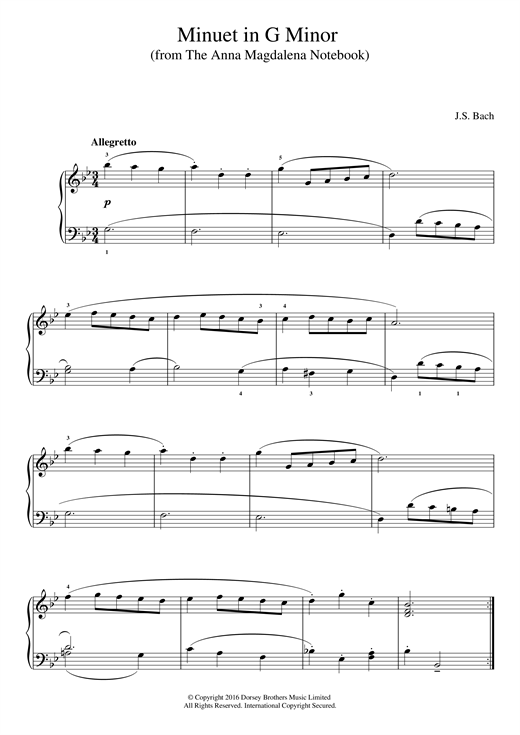 Partition piano Minuet in G Minor (from The Anna Magdalena Notebook) de J.S. Bach - Piano Facile