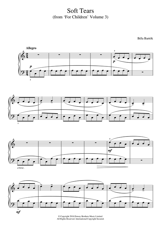 Partition piano Soft Tears (from 'For Children', Volume 3) de Bela Bartok - Piano Facile