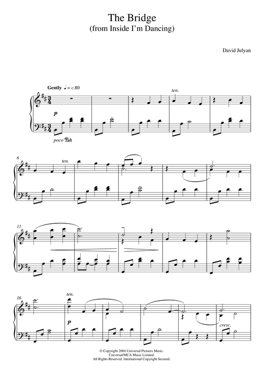 The Bridge (from 'Inside I'm Dancing') Sheet Music