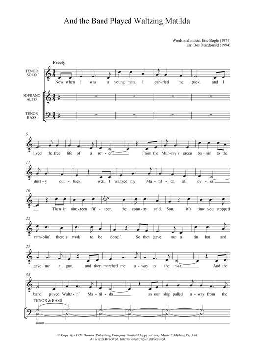 Partition chorale And The Band Played Waltzing Matilda de Eric Bogle - SATB