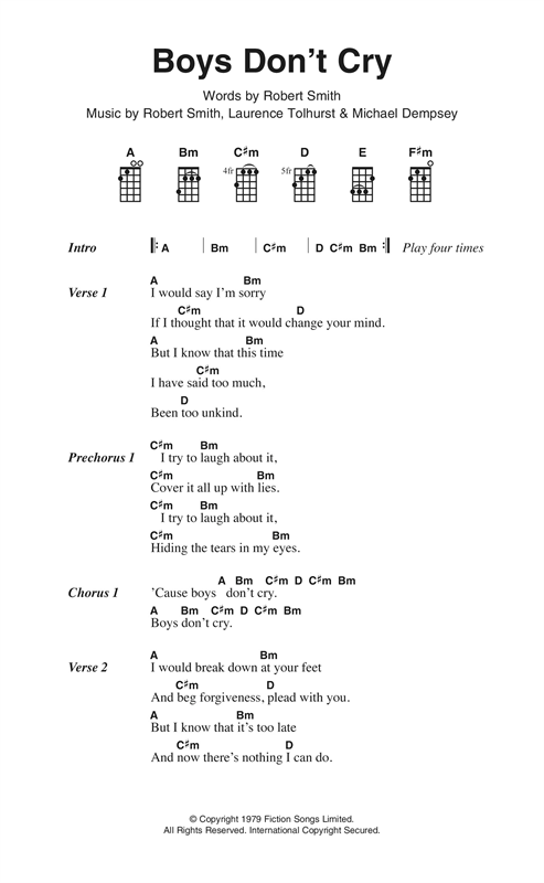 Boys Don't Cry Sheet Music