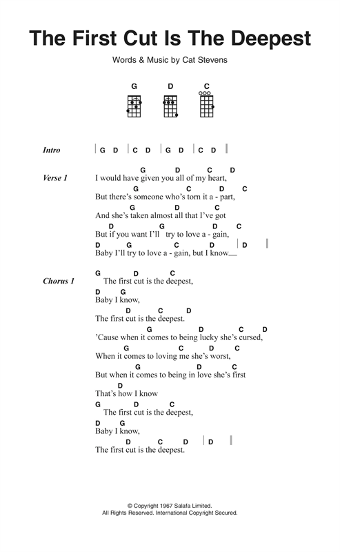 The First Cut Is The Deepest Sheet Music By Cat Stevens Ukulele