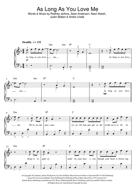 As Long As You Love Me (feat. Big Sean) Sheet Music
