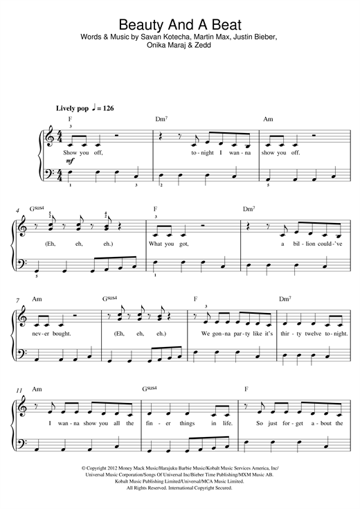 page one of Beauty And A Beat (feat. Nicki Minaj)ASALTTEXT
