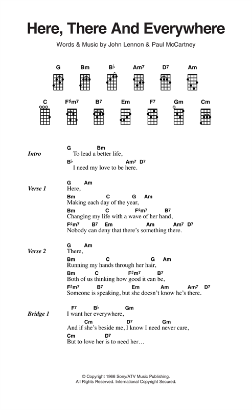 Here There And Everywhere Sheet Music By The Beatles Ukulele