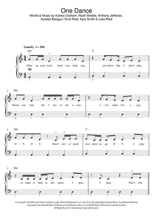 page one of One DanceASALTTEXT