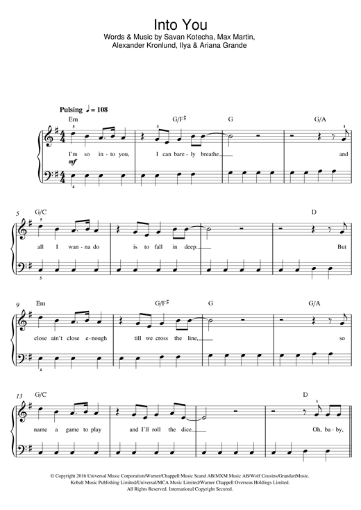 Into You Sheet Music
