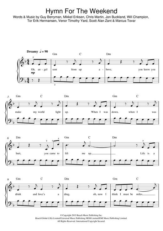 Hymn For The Weekend (Beginner Piano)