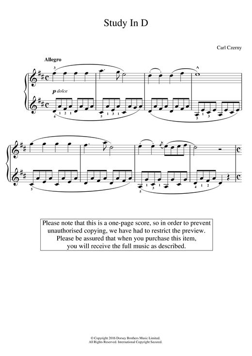 Study In D Sheet Music