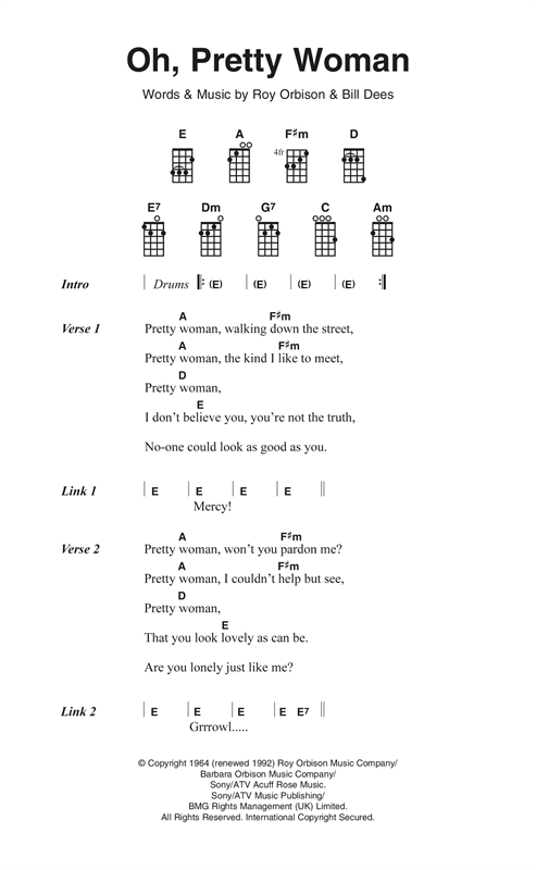 Oh Pretty Woman Sheet Music By Roy Orbison Ukulele Lyrics Chords