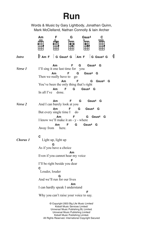 Run sheet music by Snow Patrol (Ukulele Lyrics & Chords – 123795)