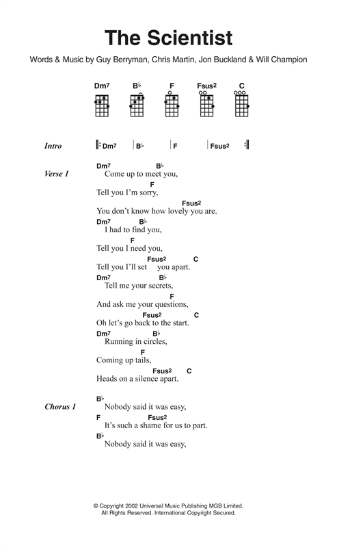 Ukulele ukulele tabs the scientist : The Scientist sheet music by Coldplay (Ukulele Lyrics & Chords ...