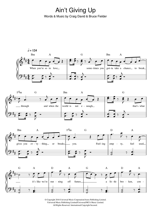 page one of Ain't Giving Up (feat. Sigala)ASALTTEXT
