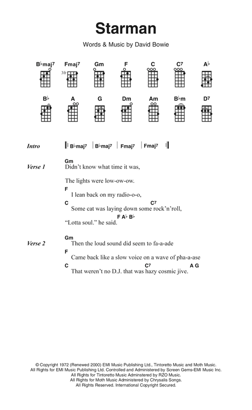 Starman (Ukulele Chords/Lyrics)