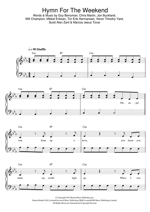Hymn For The Weekend Sheet Music