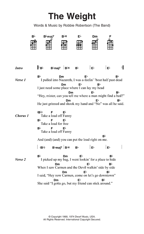 The Weight Sheet Music By The Band Ukulele Lyrics Chords 123844